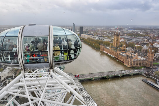 Cabin of Millenuim wheel and London cityscape from top, London, UK