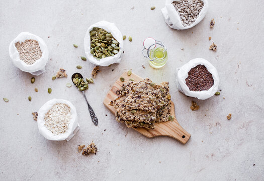 Crispy seed cracker made from oats and different seeds