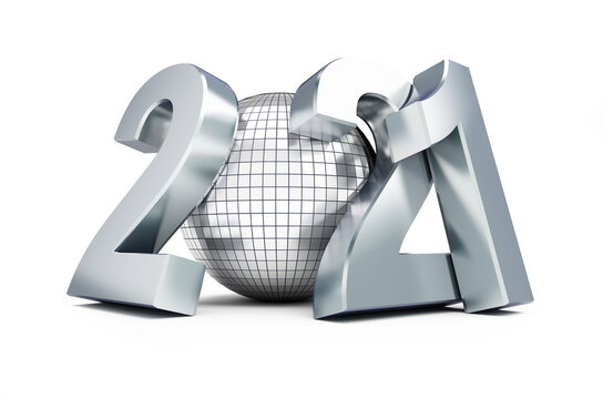 New Year 2021 Disco ball on a white background 3D illustration, 3D rendering