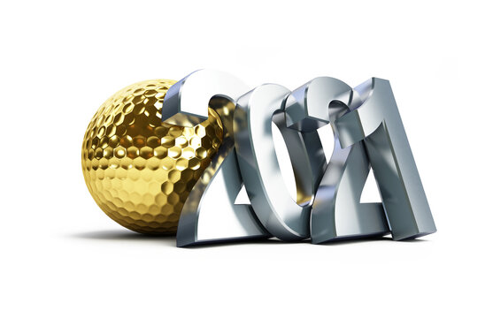 New Year 2021 golf ball gold