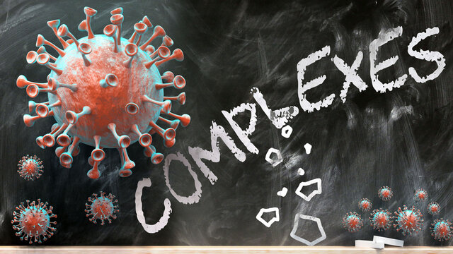 Covid and complexes - covid-19 viruses breaking and destroying complexes written on a school blackboard, 3d illustration