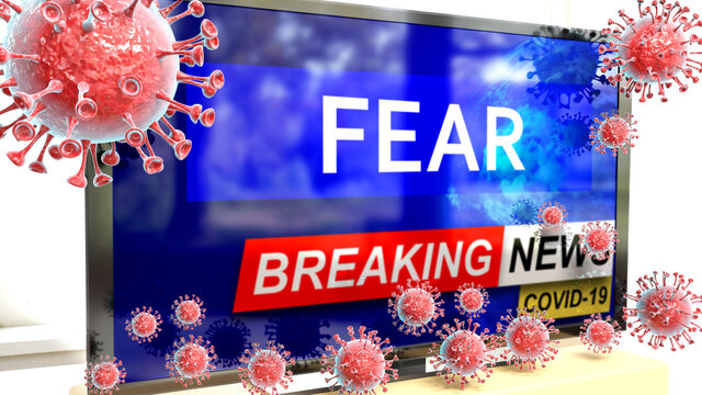 Covid, fear and a tv set showing breaking news - pictured as a tv set with corona fear news and deadly viruses around attacking it, 3d illustration