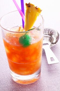 A Zombie cocktail made with Triple Sec, rum and fruit juice