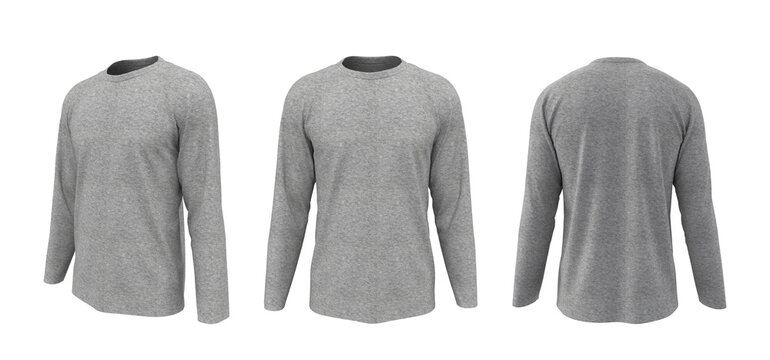 men's long-sleeve t-shirt mockup in front, side and back views, design presentation for print, 3d illustration, 3d rendering