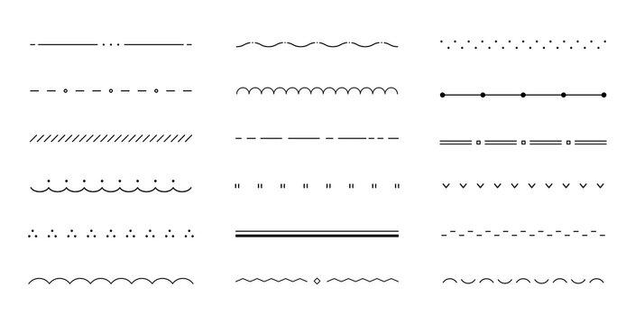 シンプルな飾り線のセット/装飾/仕切り/あしらい/おしゃれ/かわいい/飾り罫/素材/フレーム
