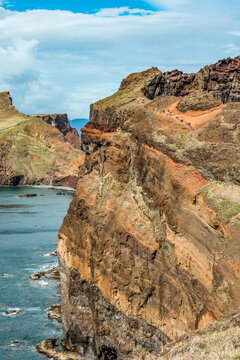 View of rocky cliffs clear water of Atlantic Ocean at Ponta de Sao Lourenco, the island of Madeira, Portugal