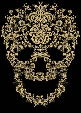 floral pattern skull print design