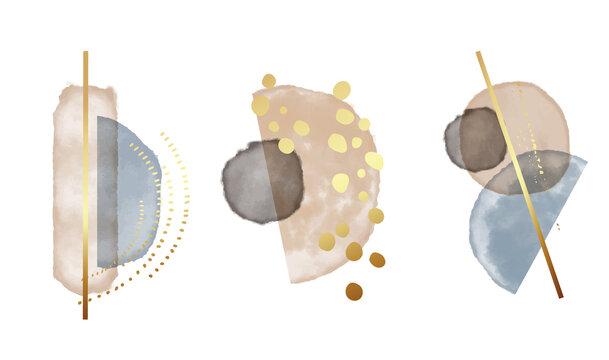 Wateroclor Blue beigeabstract shapes, gold splashes, boho design. Elegant contemporary bohemian design. Minimal graphics, home decor
