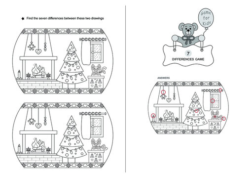 The game of seven differences. Game for kids. Christmas theme. Black and white. English Language.