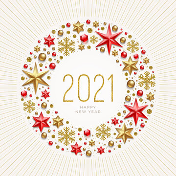 2021 New Year greeting illustration. New year greeting in frame which is made from holiday decor.