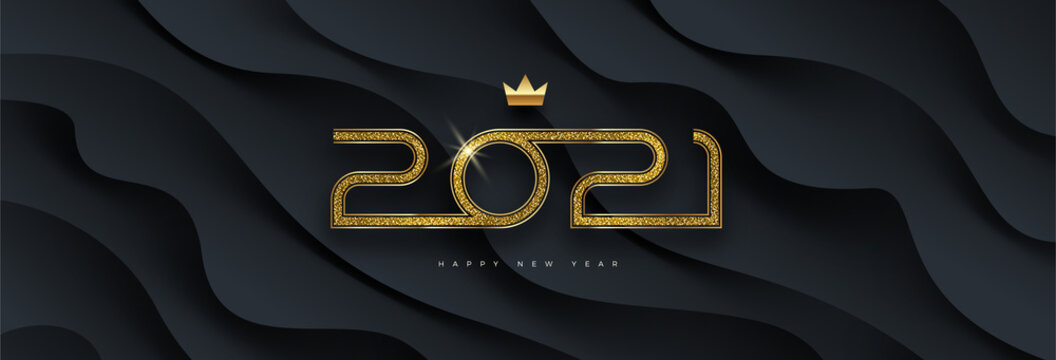 2021 new year logo. Greeting design with golden  number of year on a abstract black layered background. Design for greeting card, invitation, calendar, etc.