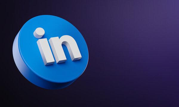 LinkedIn Circle Button Icon 3D on Dark Bakcgorund. Elegant Template Blank Space