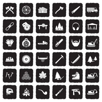Lumberjack Icons. Grunge Black Flat Design. Vector Illustration.