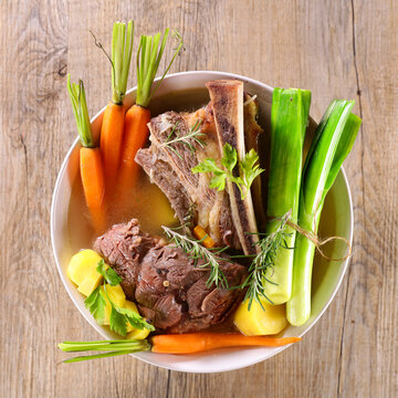 pot au feu- beef stew with broth and vegetable