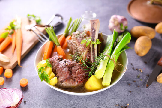 beef,  broth and vegetables