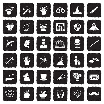 Magic Icons. Grunge Black Flat Design. Vector Illustration.