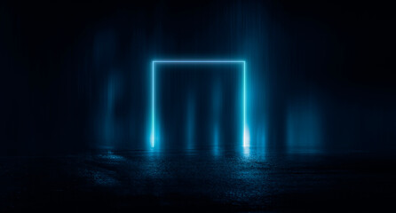 Fotomurales - Abstract futuristic neon background, light tunnel, blue neon shapes on a dark background. Night view, space background, cyber reality.