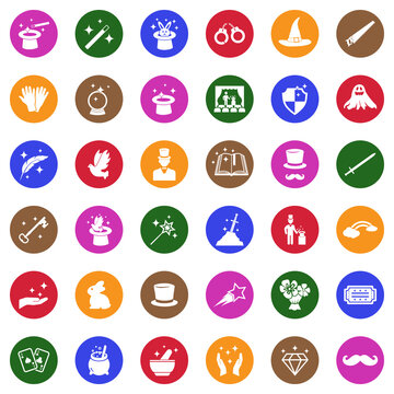 Magic Icons. White Flat Design In Circle. Vector Illustration.