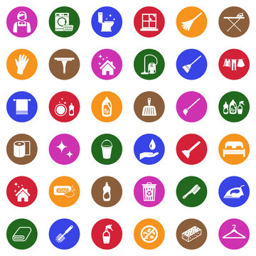 Maid Service Icons. White Flat Design In Circle. Vector Illustration.