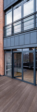 Balcony in modern building, vertical panorama
