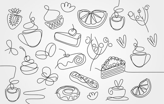 Single line sweets and coffee icons. Hand drawing food sign set. Cafe design template. Cake, donut, orange, strawberry, pie, roll, cup of tea. Linear sketch. Vector illustration.