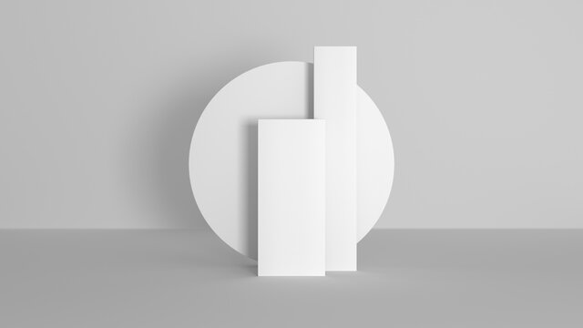 Abstract podium light white composition. Clean 3D room for your text and products with light and shadow. 3D illustration Render