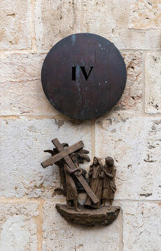 The fourth station of the Cross Procession on the wall in Lions Gate Street near the Lions Gate in the old city of Jerusalem, in Israel