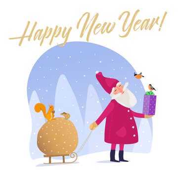 Vector illustration. Cute Santa carries a sack of New Year's gifts on a sled. Peaceful evening forest and houses are falling snow. Greeting card, packaging or pattern on textiles