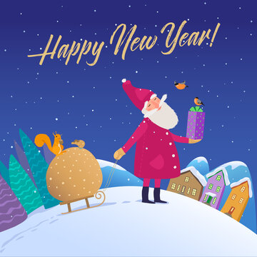 Vector illustration. Sweet Santa carries sacks of New Year's gifts from the forest to their homes in the evening. Peaceful evening forest and houses are falling snow. Greeting card, packaging or patte