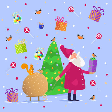 Vector pattern. Cute Santa carries a sack of New Year's gifts on a sled. Peaceful evening forest and houses are falling snow. Greeting card, packaging or pattern on textiles