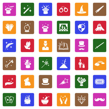 Magic Icons. White Flat Design In Square. Vector Illustration.
