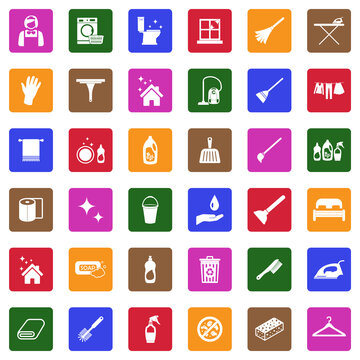Maid Service Icons. White Flat Design In Square. Vector Illustration.