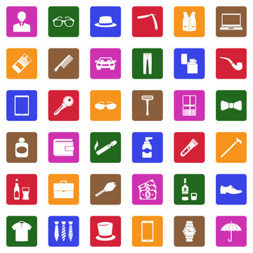 Man Accessories Icons. White Flat Design In Square. Vector Illustration.