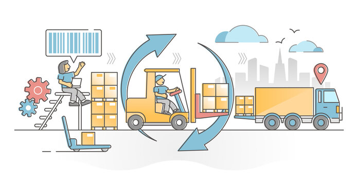 Warehouse management as stock inventory distribution work outline concept