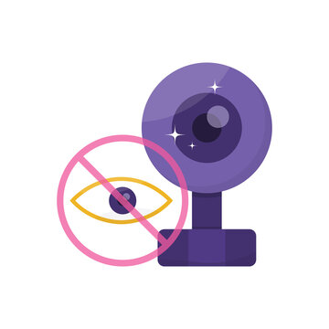 the concept of privacy and identity safeguards. vpn or Virtual Private Network. protection from prying eyes and hackers. illustration of a webcam or camera and eye icon. flat style. design element