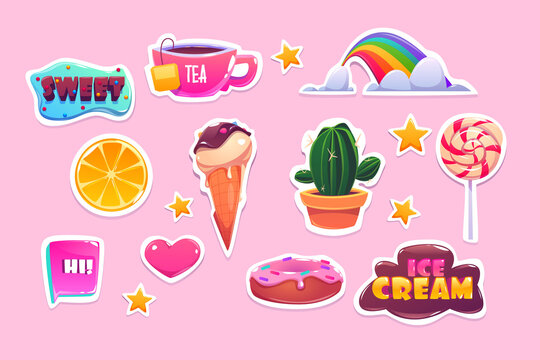 Cute stickers set with rainbow, heart, sweets and stars. Vector cartoon icons of donut, ice cream, orange and quotes. Patches with fun symbols, cactus, tea and lollipop isolated on pink background