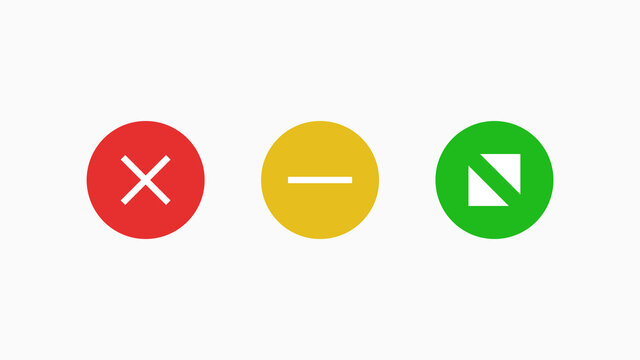 Navigate window mac icons. Red cross symbol of cancellation and web connection green with white arrows.