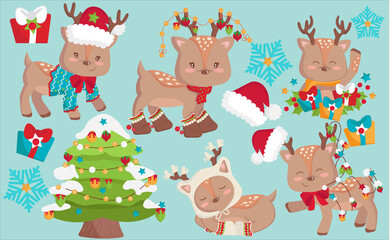 Christmas lovely dressed and cute deers