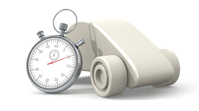 Automotive model with stopwatch isolated