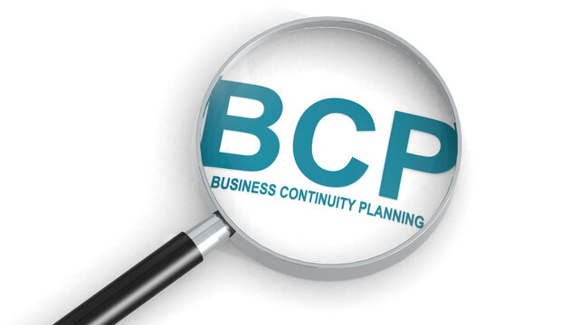 BCP, business continuity planning,  word under magnifying glass