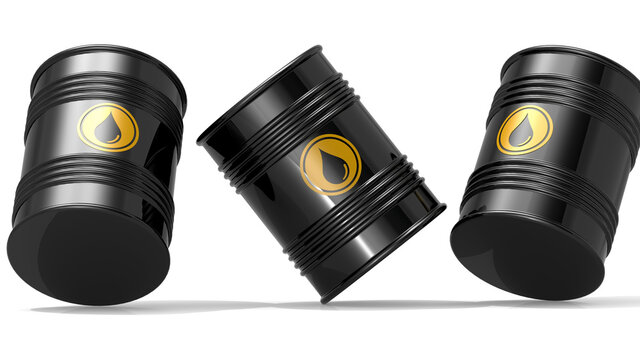 Black barrels for cruel oil or petroleum