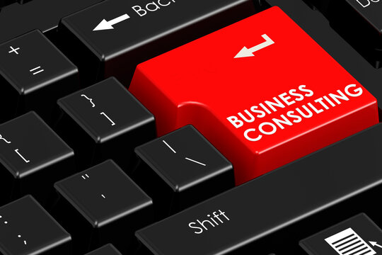 Business consulting word on black keyboard