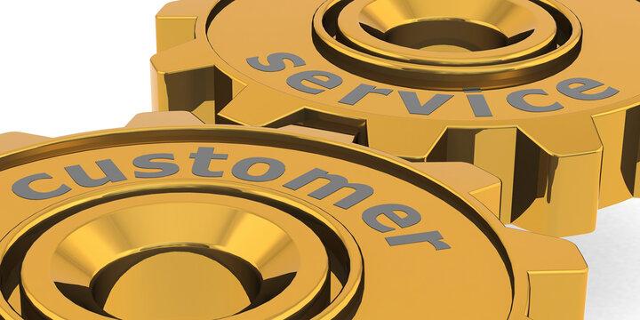 Customer service word on golden gears