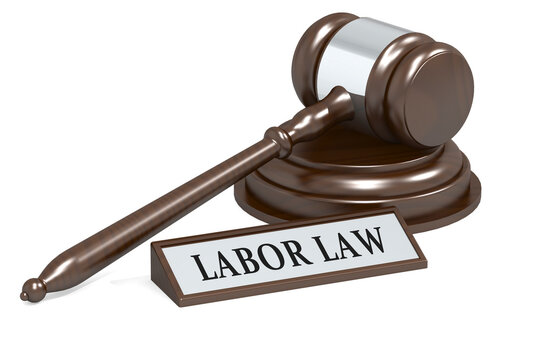 Judge gavel and labor law banner