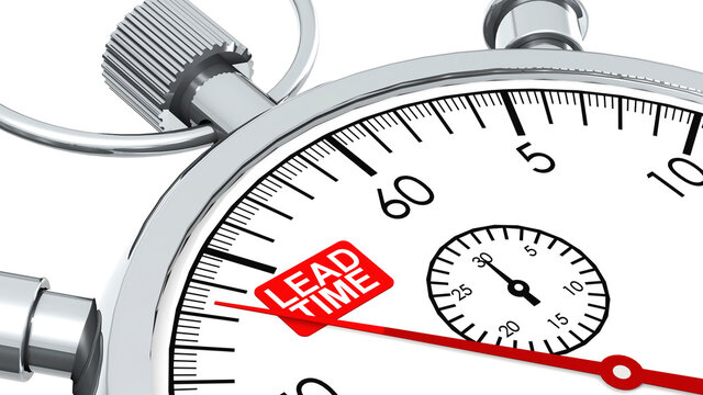 Lead time word on classic stopwatch