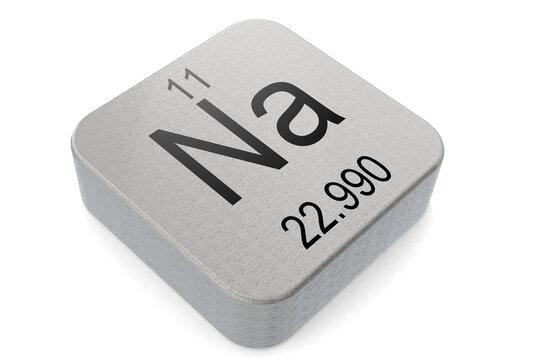 Sodium element symbol on metal block