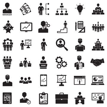 Manager Icons. Black Flat Design. Vector Illustration.
