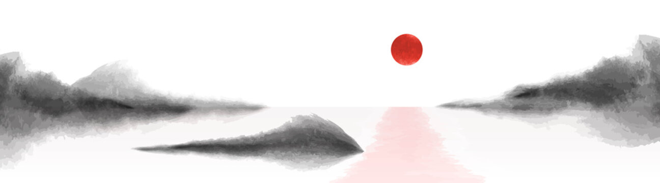 Vector illustration. Minimalist watercolor ink background. Traditional oriental painting. Japanese decorative art. Panoramic landscape. Wallpaper. Abstract grunge backdrop. Hand drawn mountains