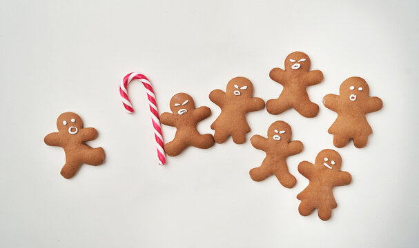Funny gingerbread man with sugar cane