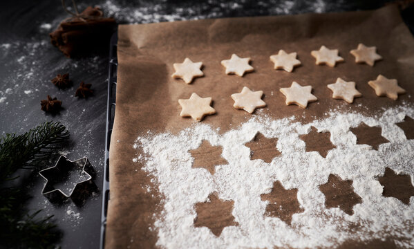 Top view of Christmas cookies